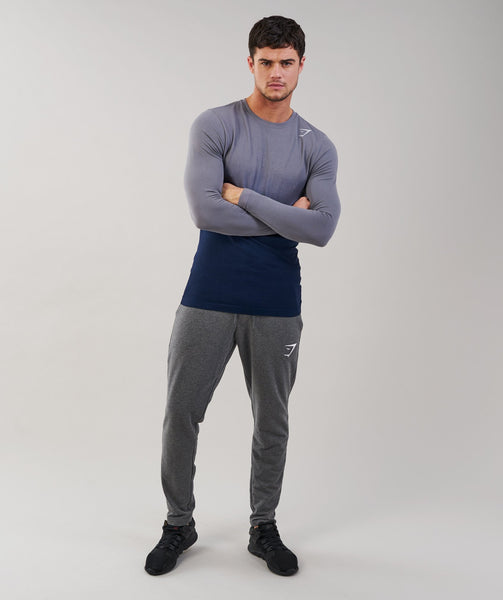 Gymshark Ombre Long Sleeve T-Shirt - Light Grey/Sapphire Blue 3