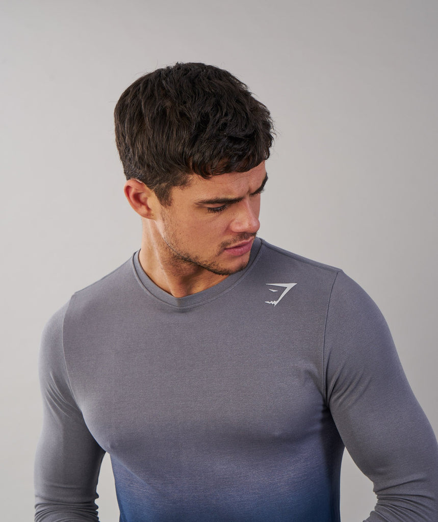 Gymshark Ombre Long Sleeve T-Shirt - Light Grey/Sapphire Blue 5