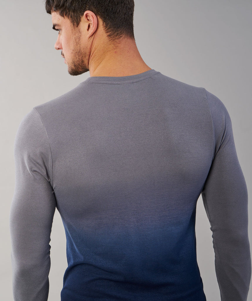 Gymshark Ombre Long Sleeve T-Shirt - Light Grey/Sapphire Blue 6