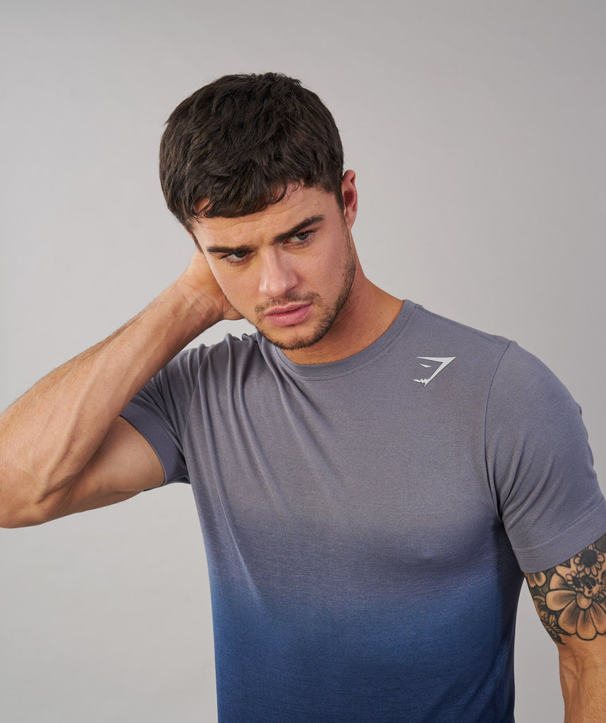 Gymshark Ombre T-Shirt - Light Grey/Sapphire Blue 5