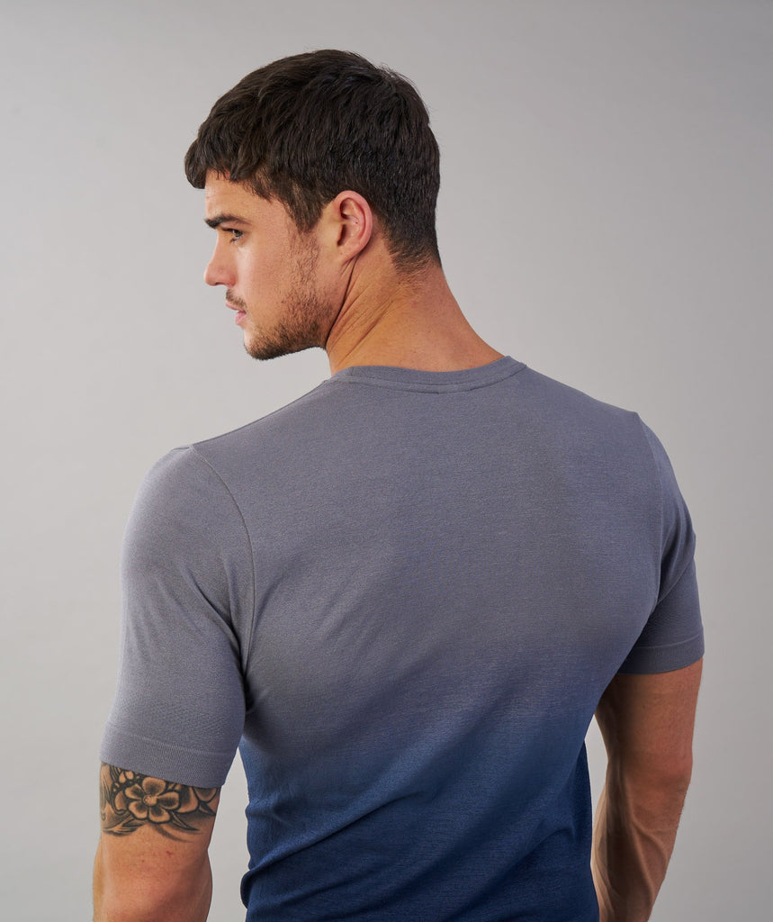 Gymshark Ombre T-Shirt - Light Grey/Sapphire Blue 6