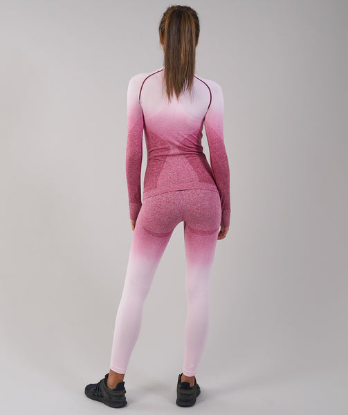 Gymshark Ombre Seamless Long Sleeve Top - Chalk Pink/Beet 1