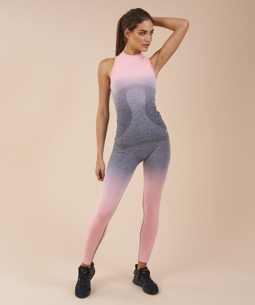 Gymshark Ombre Seamless Vest - Peach Pink/Charcoal 4