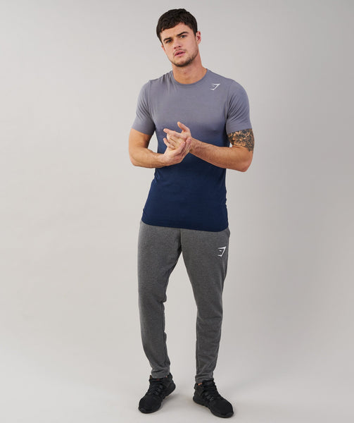 Gymshark Ombre T-Shirt - Light Grey/Sapphire Blue 3