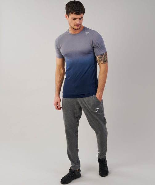 Gymshark Ombre T-Shirt - Light Grey/Sapphire Blue 4