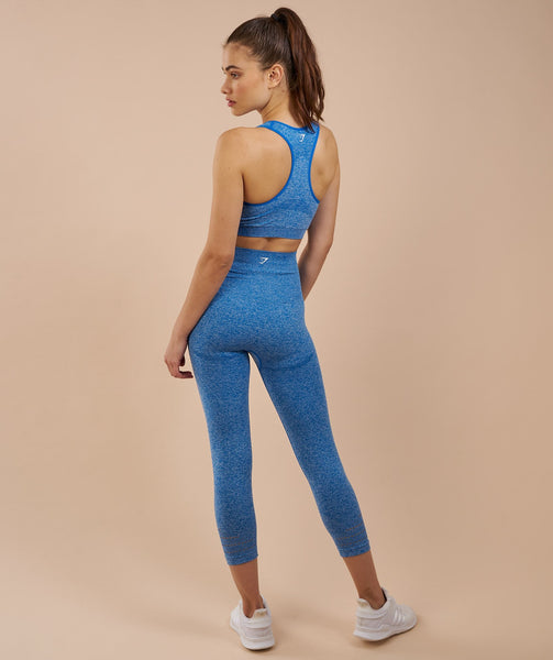 Gymshark High Waisted Seamless Cropped Leggings - Blueberry Marl 1