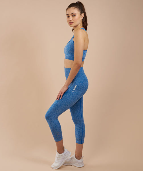 Gymshark High Waisted Seamless Cropped Leggings - Blueberry Marl 2