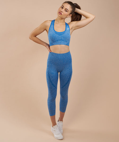 Gymshark High Waisted Seamless Cropped Leggings - Blueberry Marl 3