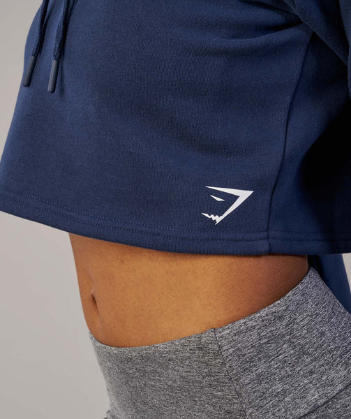 Gymshark Slouch Cropped Hoodie - Sapphire Blue 4