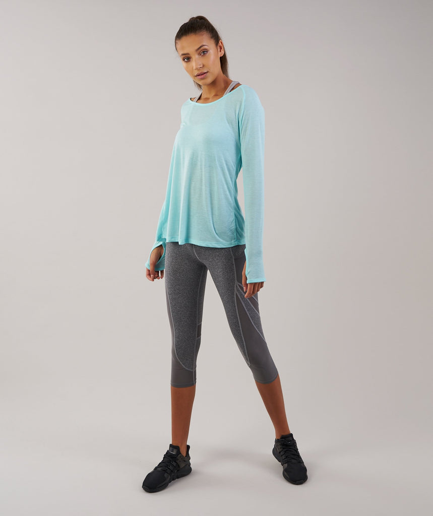 Gymshark Cross Back Long Sleeve Top - Pale Turquoise Marl 1