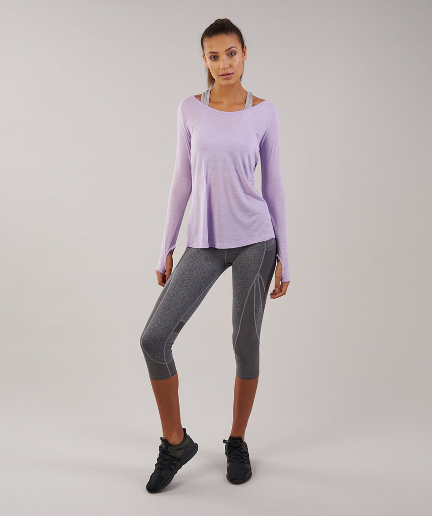 Gymshark Cross Back Long Sleeve Top - Pastel Lilac Marl 1