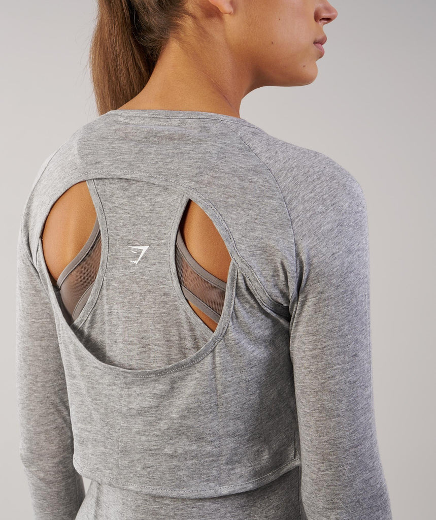 Gymshark Double Up Long Sleeve Top - Light Grey Marl 6