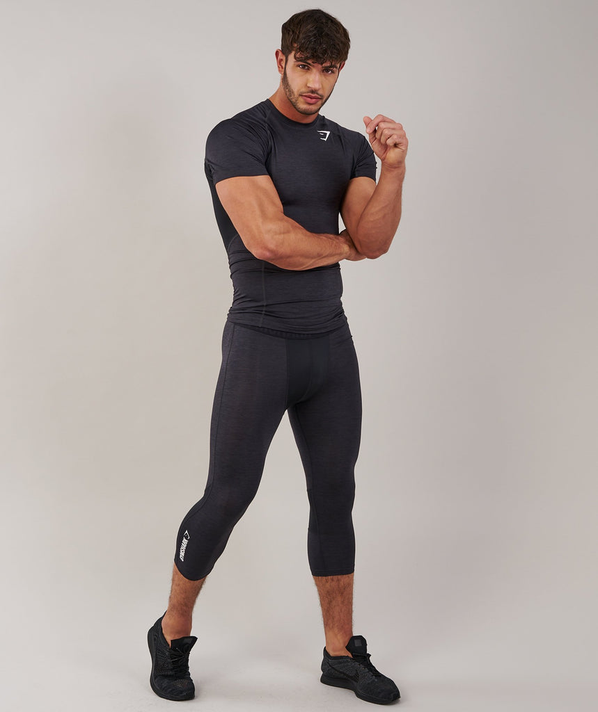 Gymshark Element Baselayer 3/4 Legging - Black Marl 1