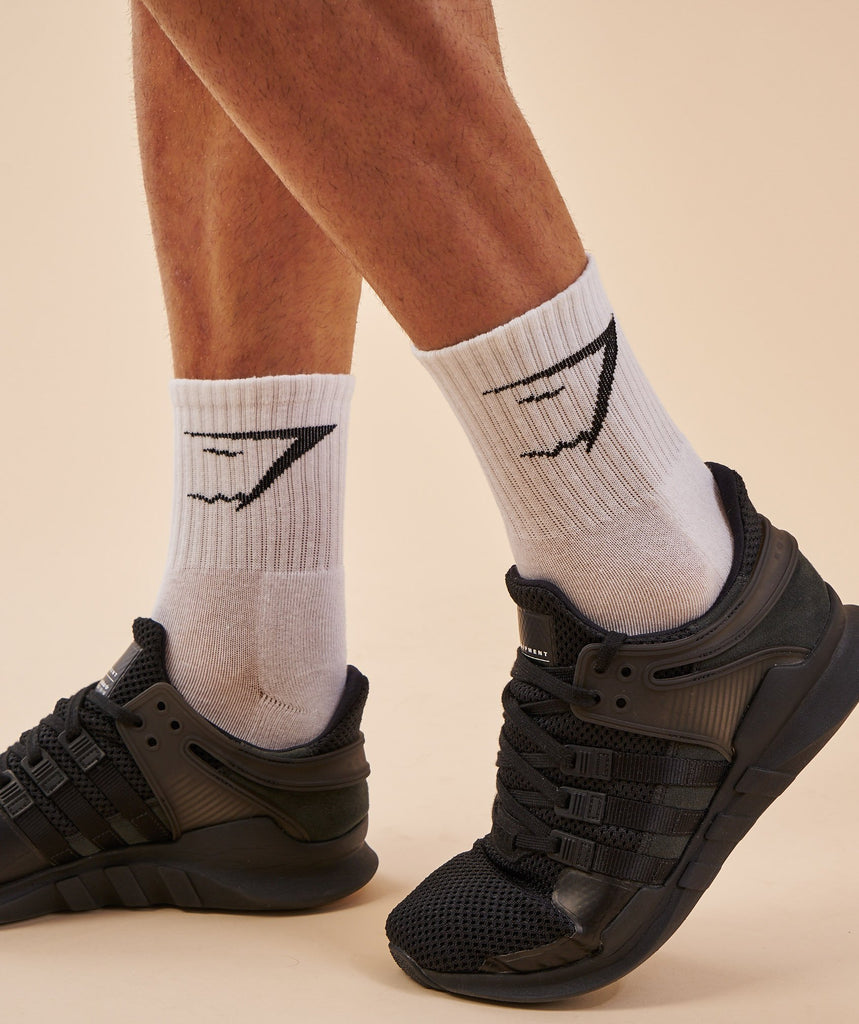 Gymshark Mens Crew Socks 3pk - White