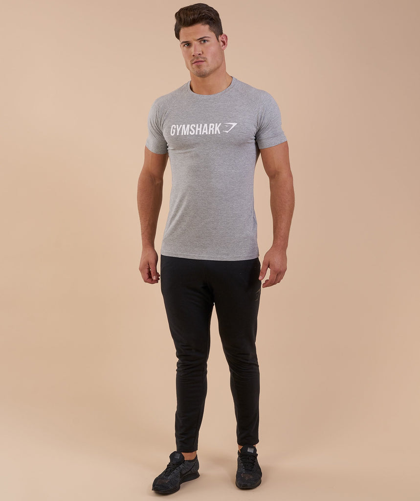 Gymshark Apollo T-Shirt - Light Grey Marl/White 1