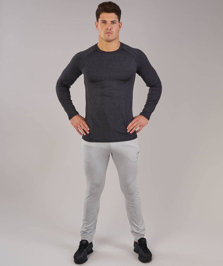 Gymshark Apex Long Sleeve T-Shirt - Black Marl 1
