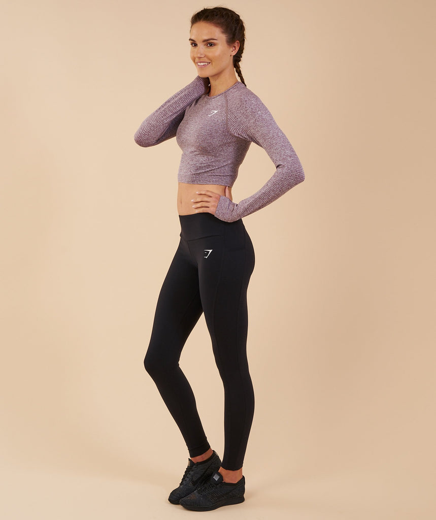 Gymshark Vital Seamless Long Sleeve Crop Top - Purple Wash Marl 2