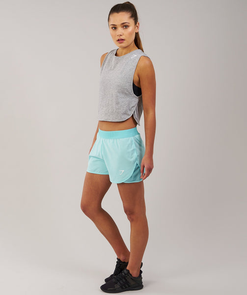 Gymshark Cropped Tank Top - Light Grey Marl 1