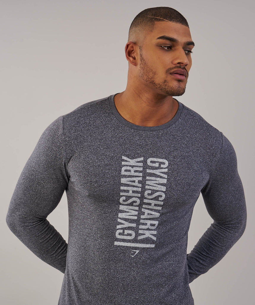 Gymshark Statement Long Sleeve T-Shirt - Charcoal Marl 2