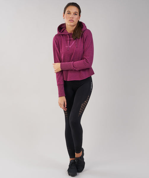 Gymshark Cross Back Hoodie - Deep Plum Marl 3