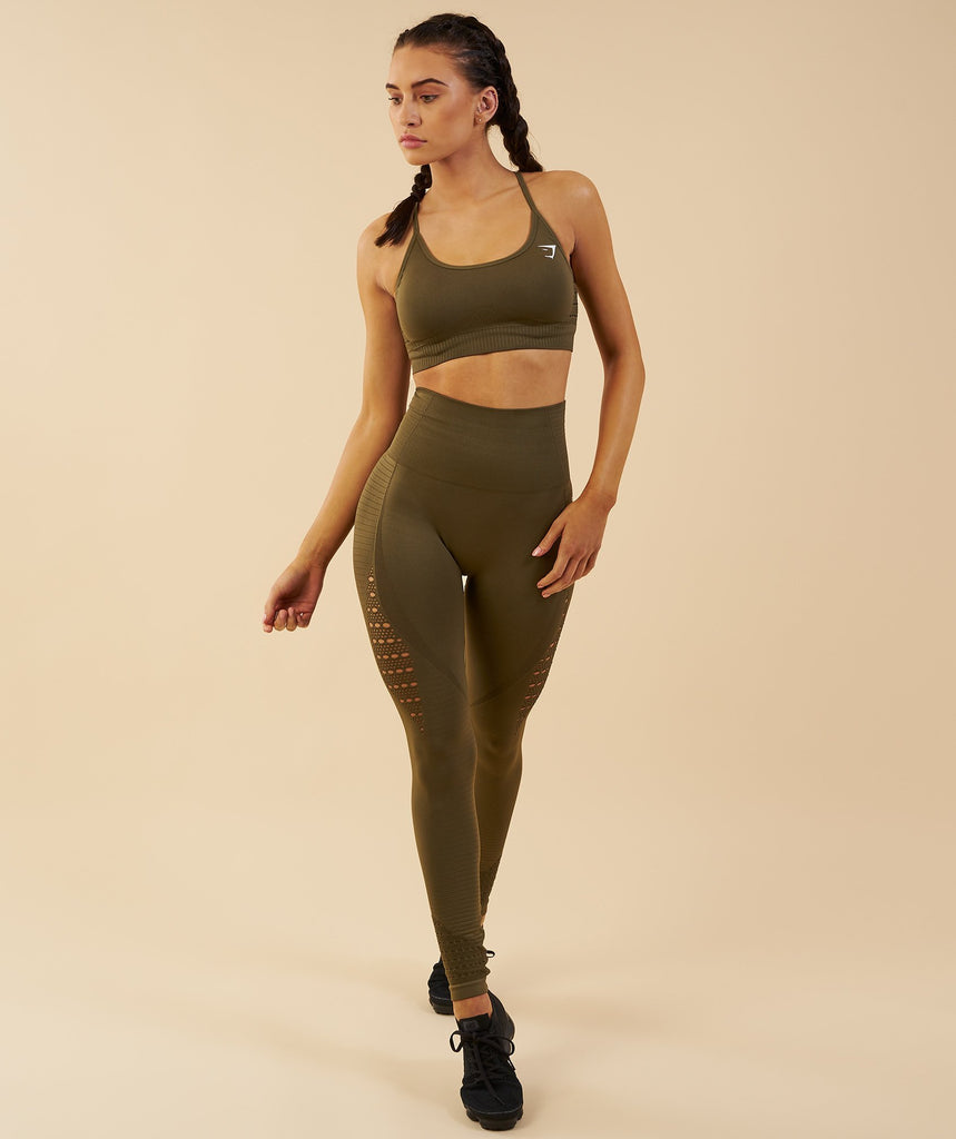 Gymshark Seamless Energy High Waisted Leggings - Khaki 1