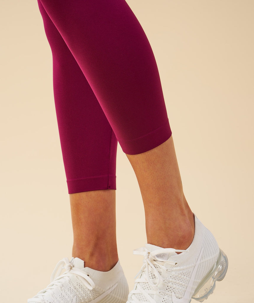 Gymshark Fit Cropped Leggings - Deep Plum/Chalk Pink 2