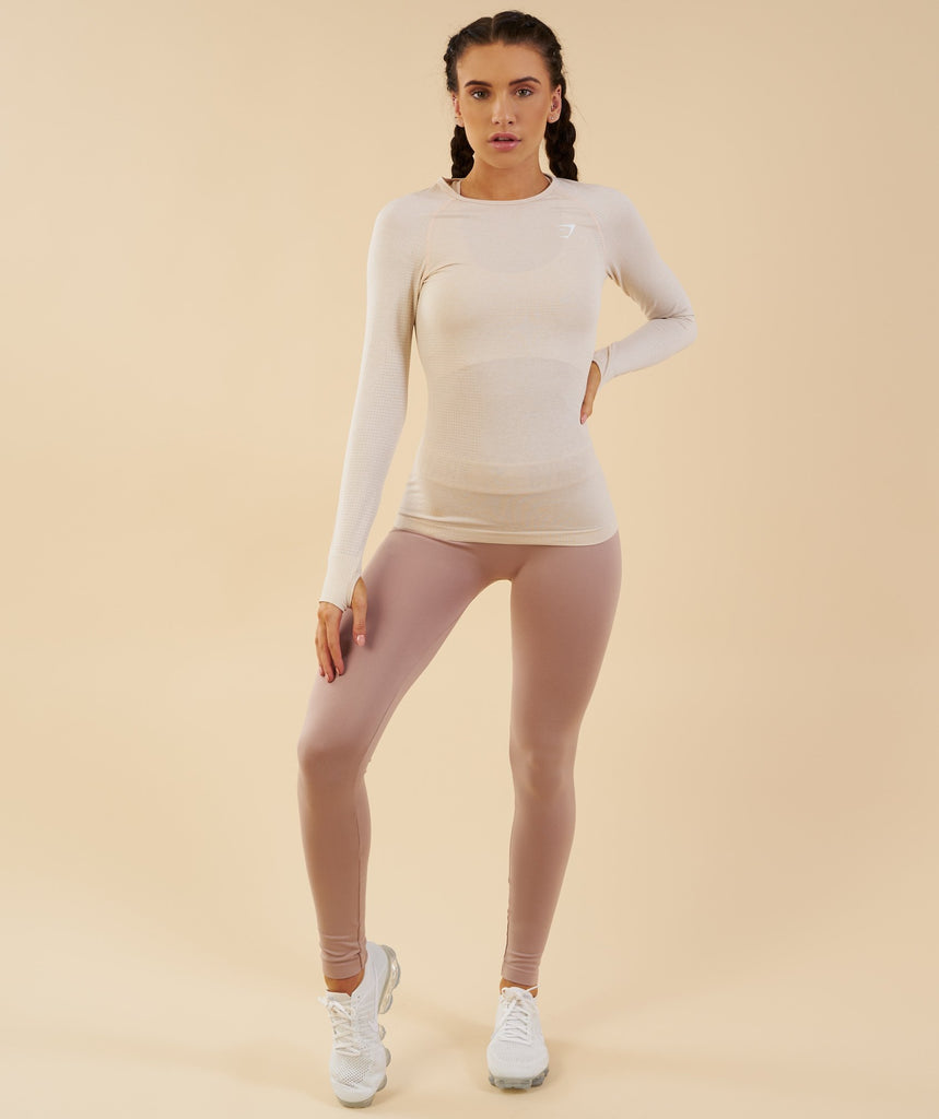 Gymshark Vital Seamless Long Sleeve Top - Sand 1