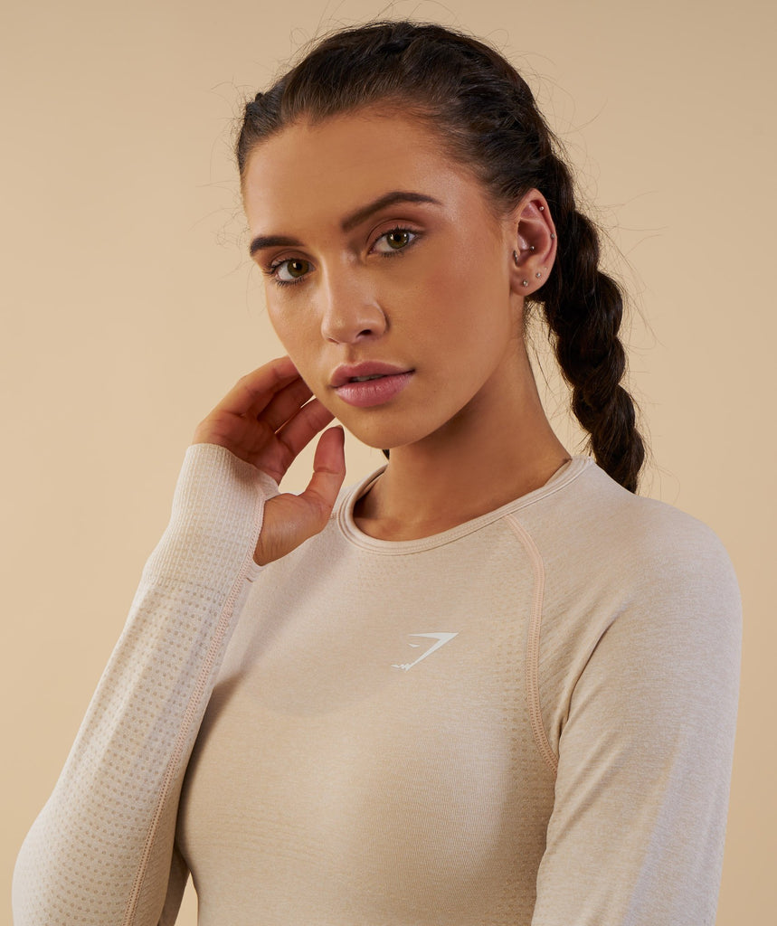 Gymshark Vital Seamless Long Sleeve Crop Top - Sand 2