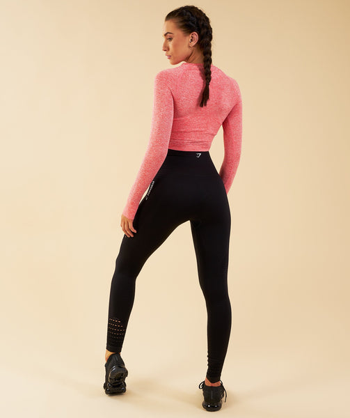 Gymshark Vital Seamless Long Sleeve Crop Top - Peach Coral 2