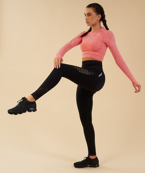 Gymshark Vital Seamless Long Sleeve Crop Top - Peach Coral 3