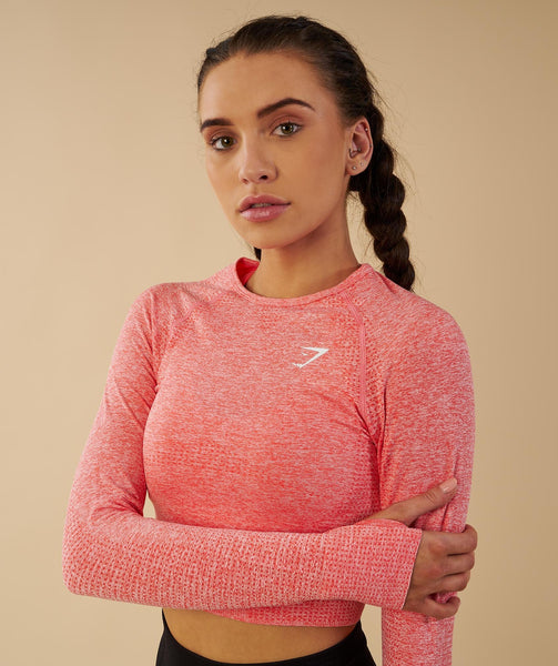 Gymshark Vital Seamless Long Sleeve Crop Top - Peach Coral 4