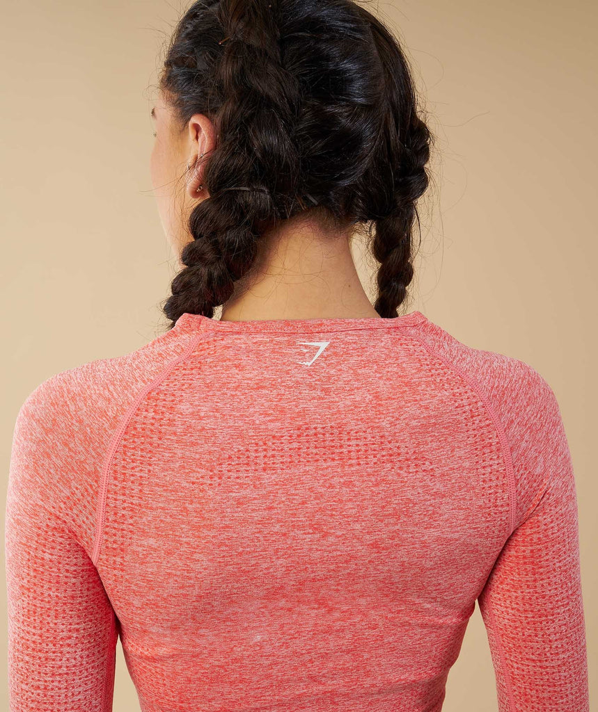 Gymshark Vital Seamless Long Sleeve Crop Top - Peach Coral 6