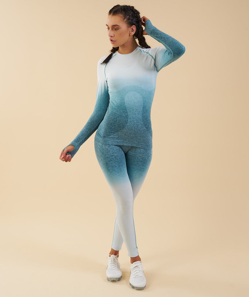 Gymshark Ombre Seamless Long Sleeve Top  - Deep Teal/Ice Blue 1
