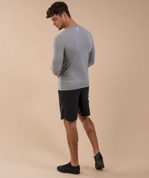 Brushed Cotton Long Sleeve T-Shirt - Light Grey Marl 3