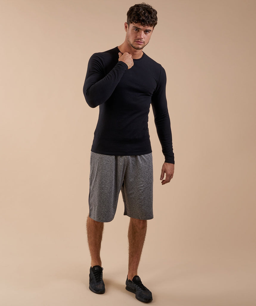 Brushed Cotton Long Sleeve T-Shirt - Black 2