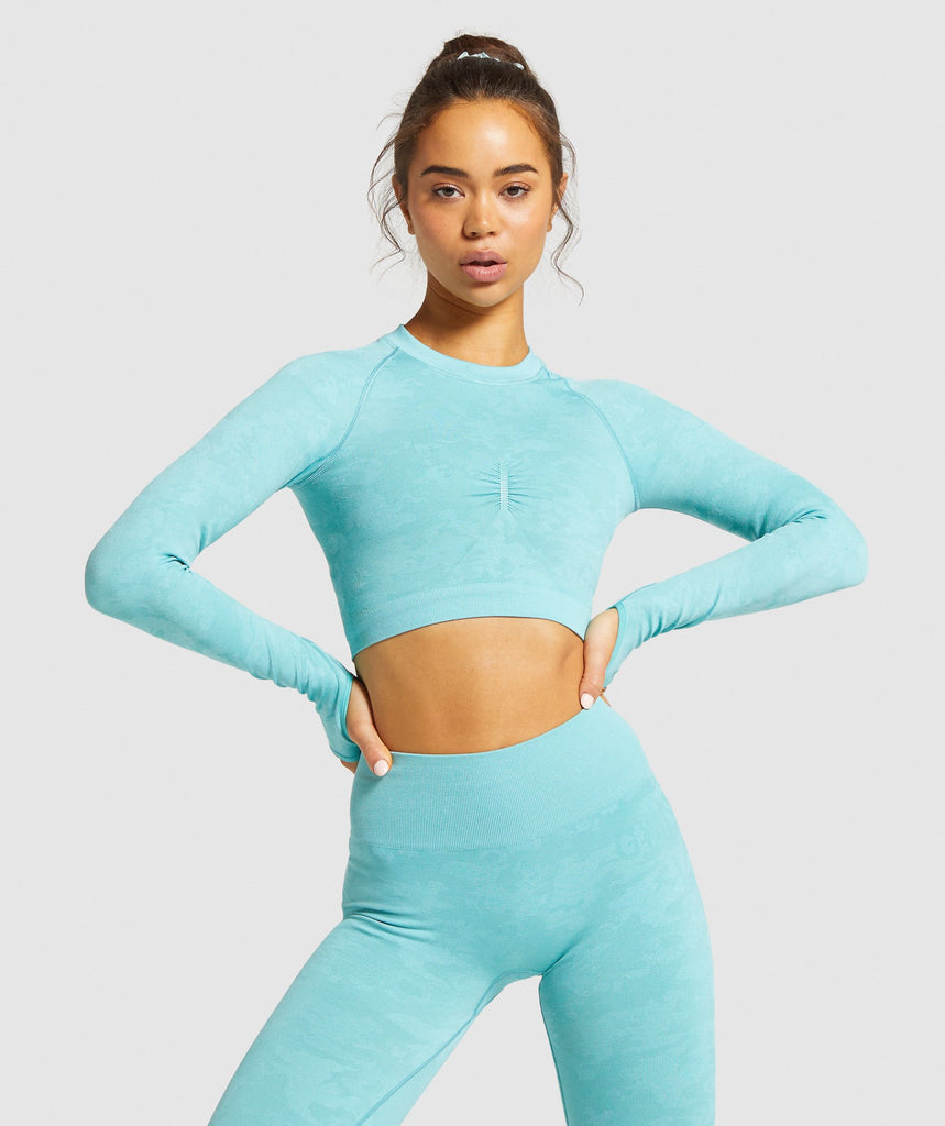 Gymshark Camo Seamless Long Sleeve Crop Top - Light Green 1