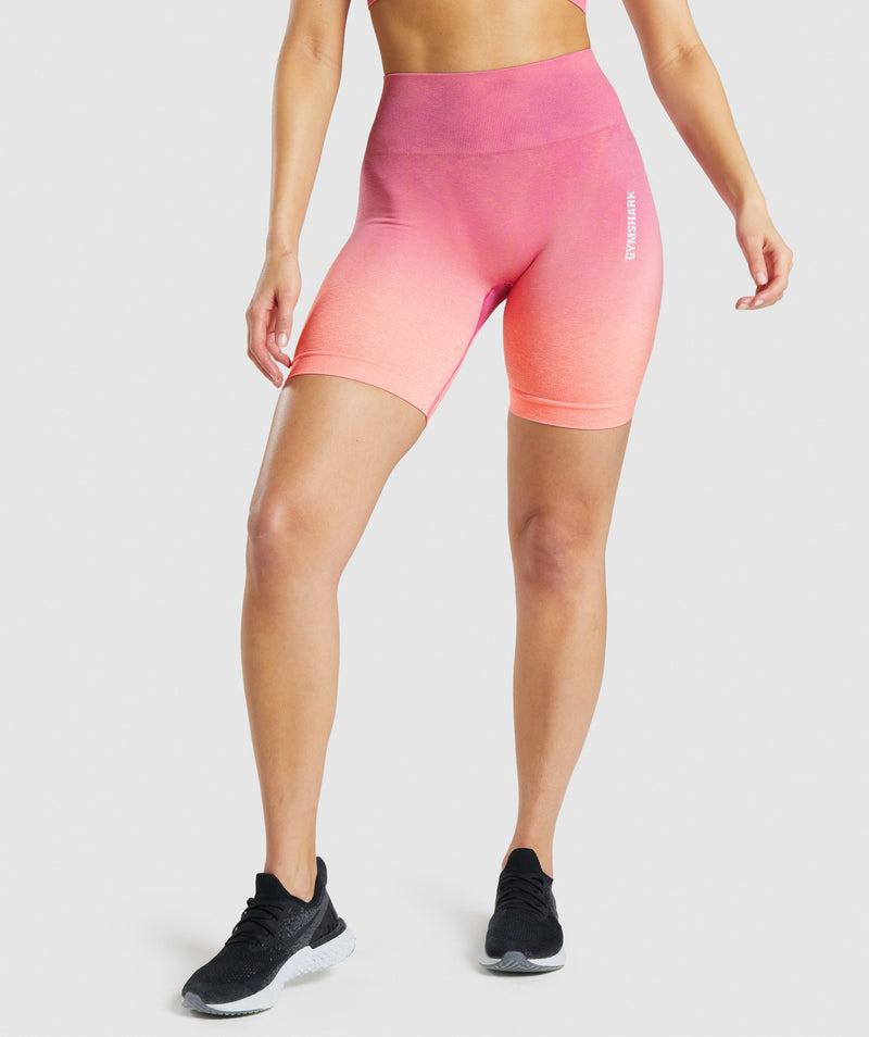 Gymshark Adapt Ombre Seamless Shorts - Orange Marl/Pink