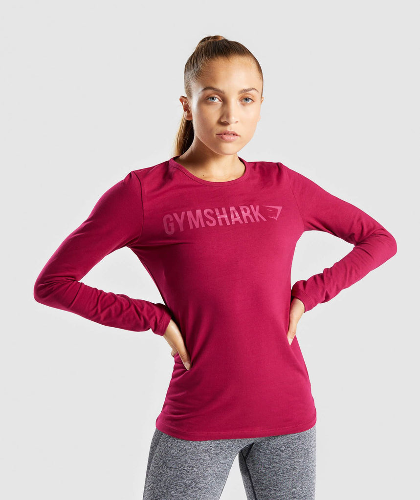 Gymshark Apollo Long Sleeve T-Shirt - Beet 1