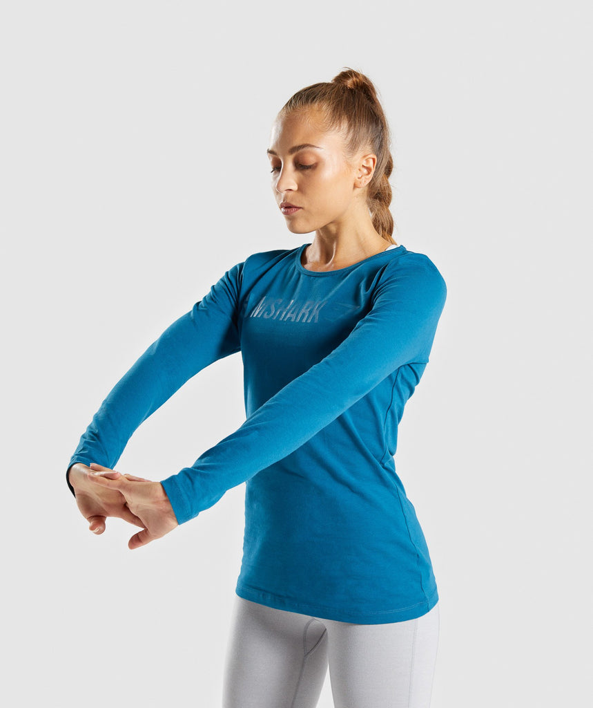 Gymshark Apollo Long Sleeve T-Shirt - Petrol Blue 1