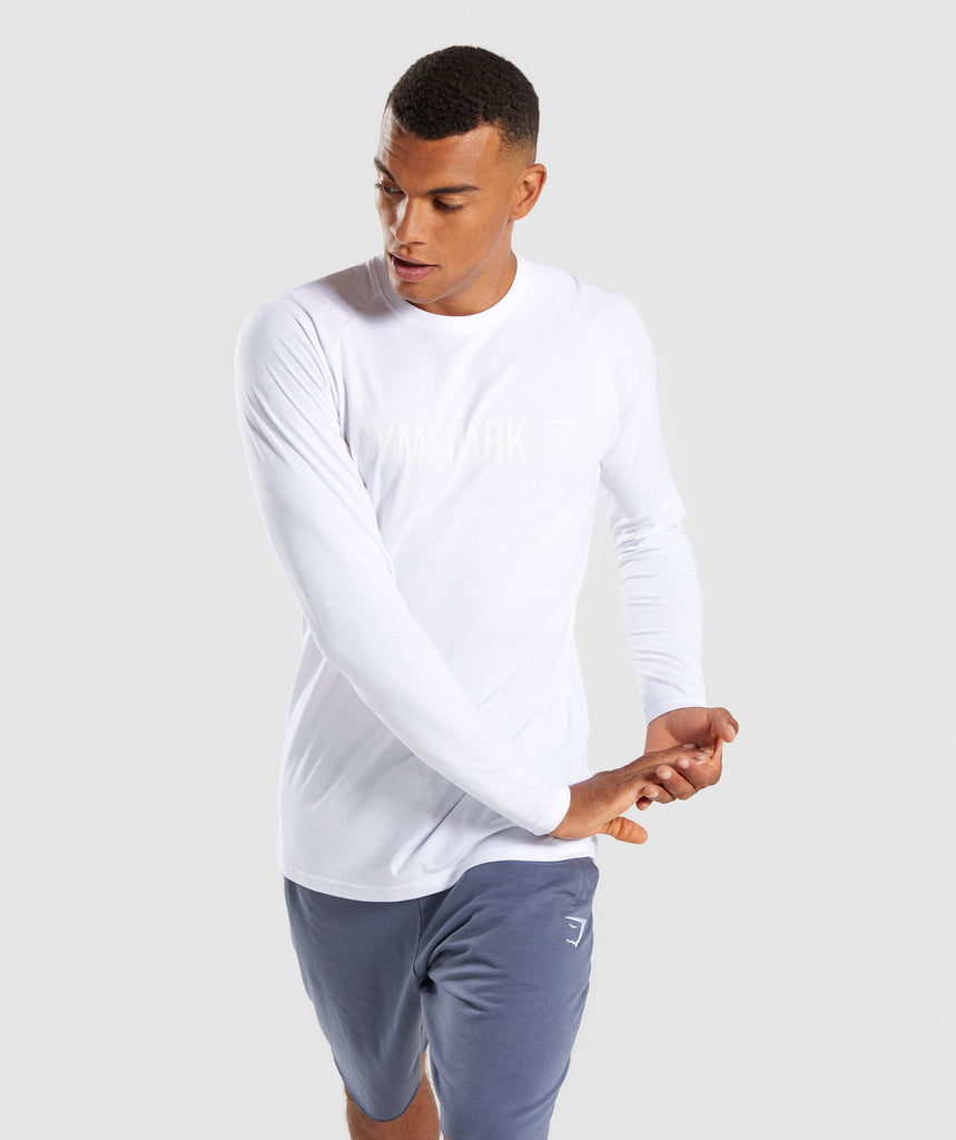 Gymshark Apollo Long Sleeve T-Shirt - White 1
