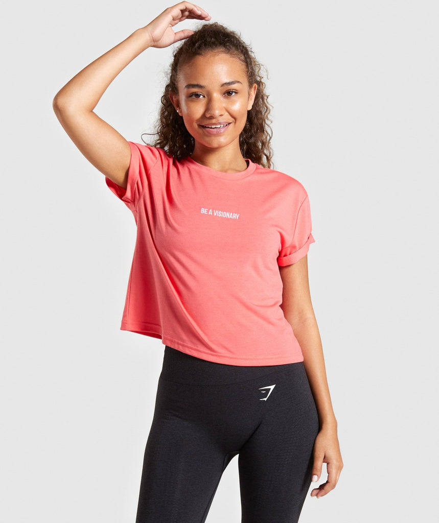 Gymshark Essential Be a Visionary Tee - Coral 1