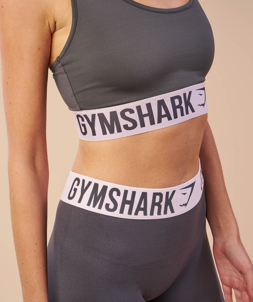 Gymshark Fit Cropped Leggings - Charcoal/Chalk Pink 6