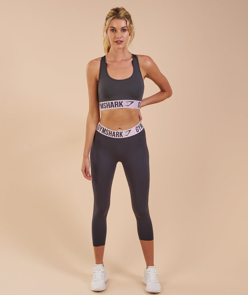 Gymshark Fit Cropped Leggings - Charcoal/Chalk Pink 5