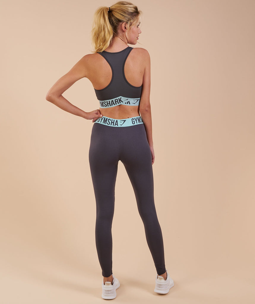 Gymshark Fit Leggings - Charcoal/Pale Turquoise 2