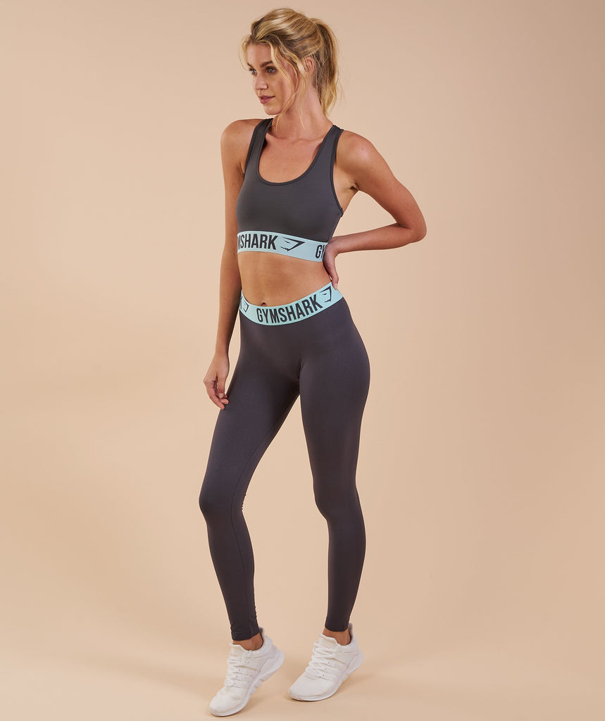 Gymshark Fit Leggings - Charcoal/Pale Turquoise 1