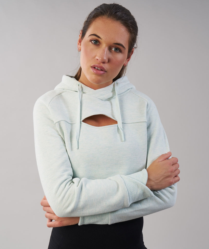 Gymshark Cropped Raw Edge Hoodie - Sea Foam Green Marl 5