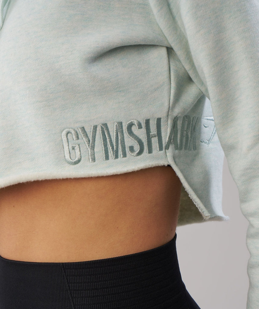Gymshark Cropped Raw Edge Hoodie - Sea Foam Green Marl 6