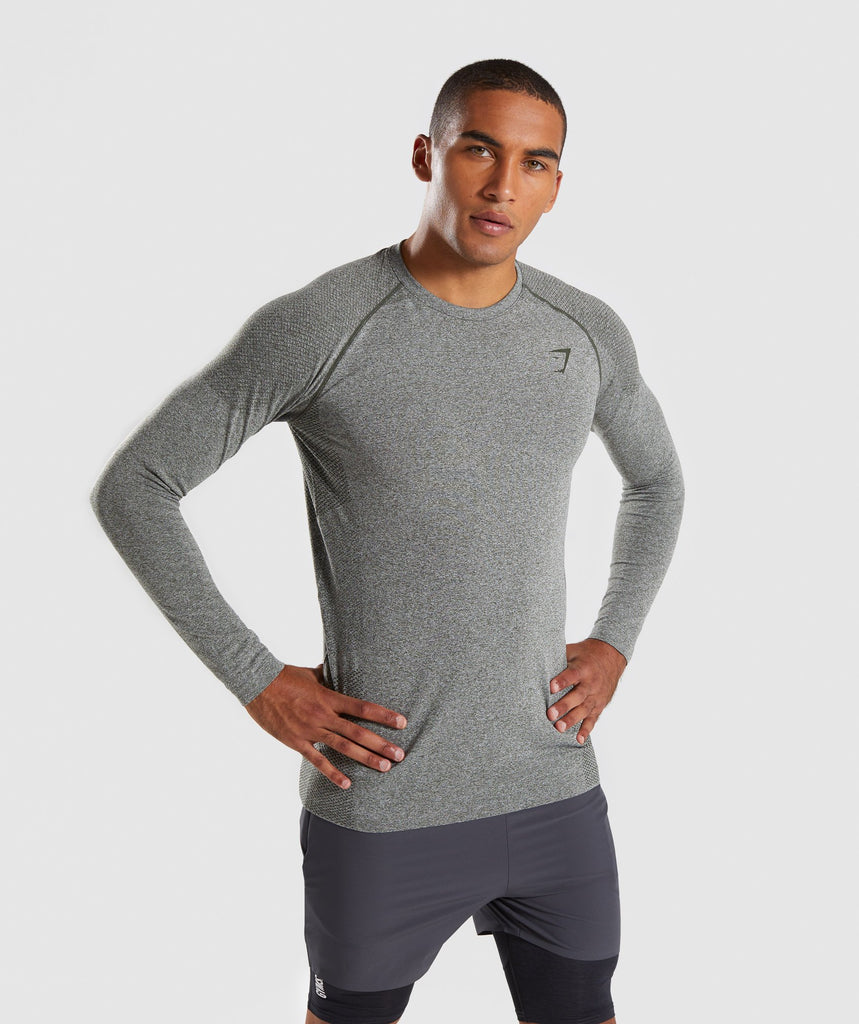 Gymshark Define Seamless Long Sleeve T-Shirt - Woodland Green Marl 1
