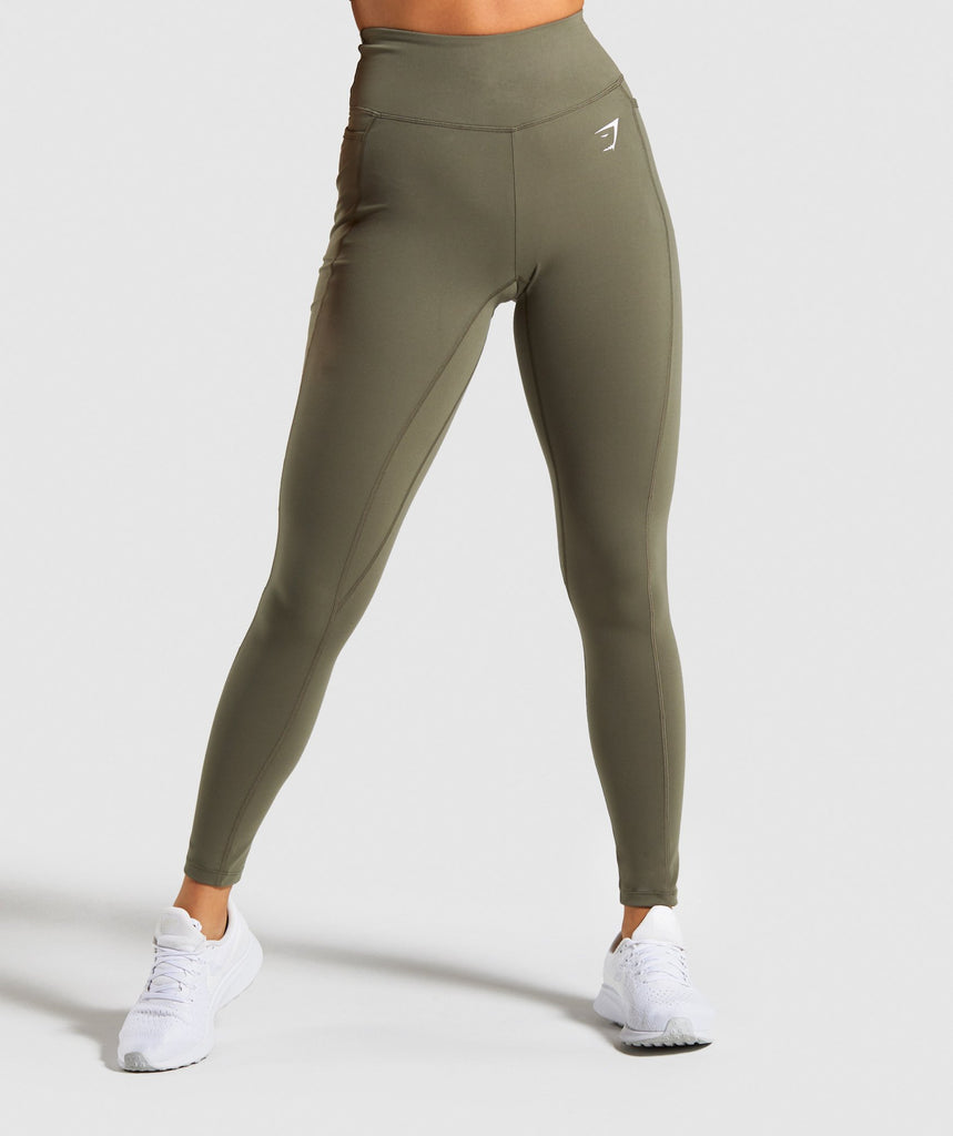 Gymshark Dreamy Leggings - Khaki/White 1