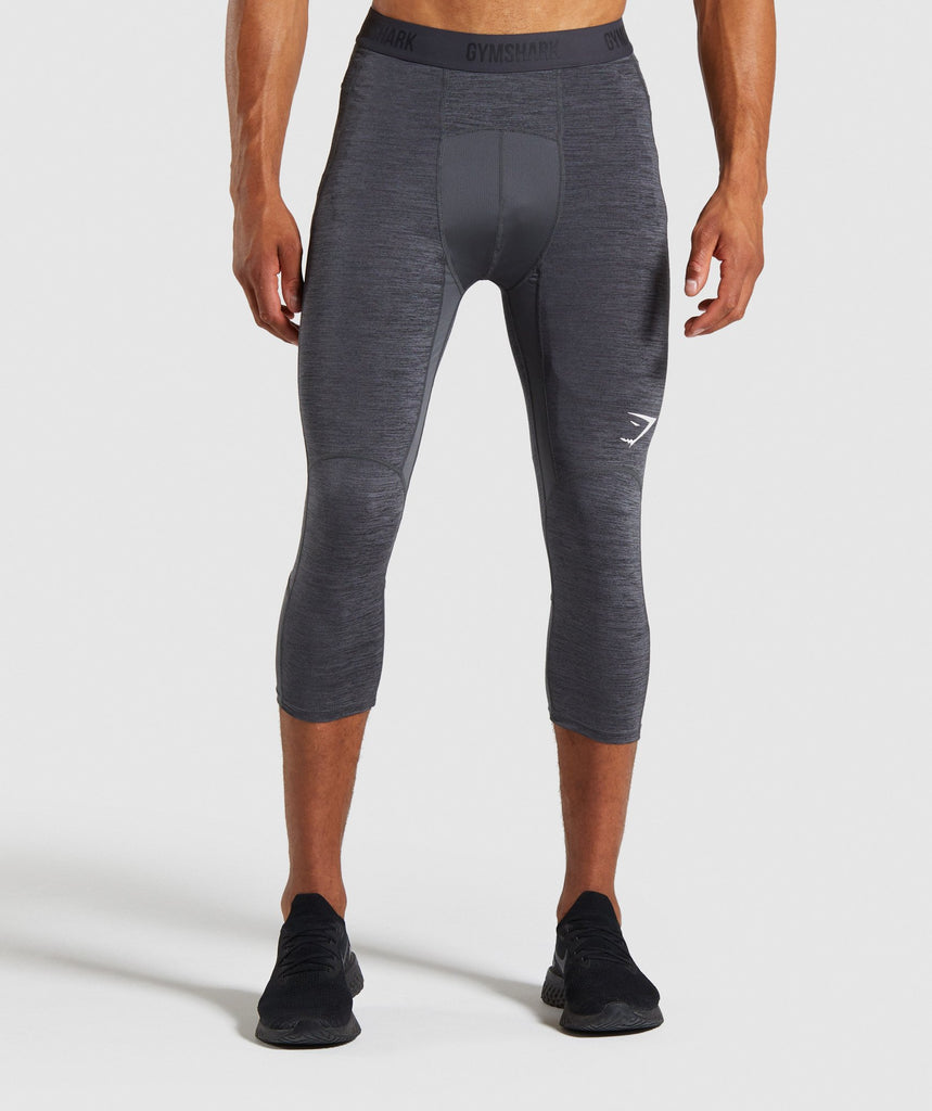 Gymshark Element+ Baselayer 3/4 Leggings - Black Marl/White 1